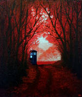 TARDIS in the Red Forest by shereline