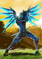 Genji x Mercy skin by CrushedApplePie