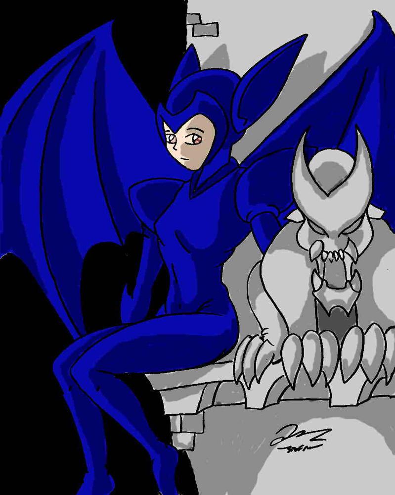 Little bat Koku with Gargoyle by Koku-chan