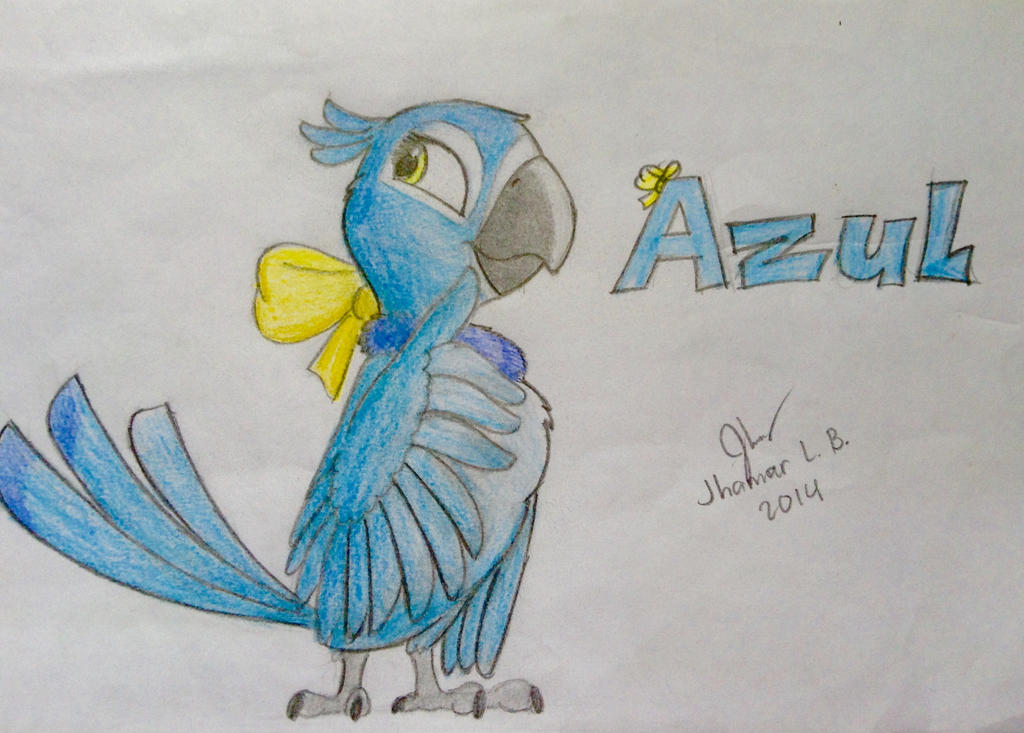 Azul the Spix's Macaw by SammfeatBlueheart