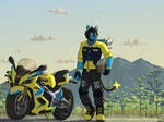 Commission: A Biker's Scenery by SammfeatBlueheart