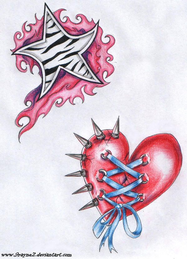 Star and heart tattoo by 9Rayne2