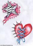 Star and heart tattoo
