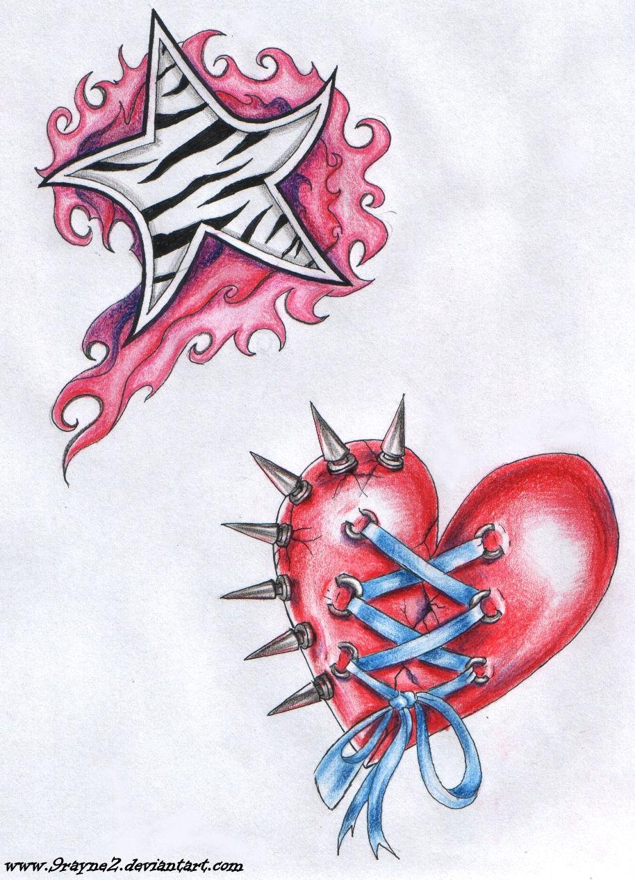 Star and heart tattoo by 9Rayne2 Feminine Tattoos Ideas