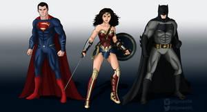 Superman Wonder Woman and Batman BvS by TJJones96