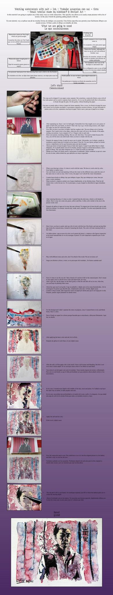 Tutorial: How to work watercolors with salt + ink by hideko69