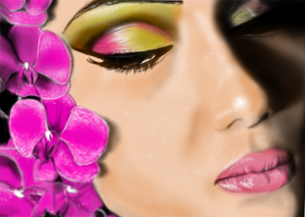 Lady with orchids by Selket47