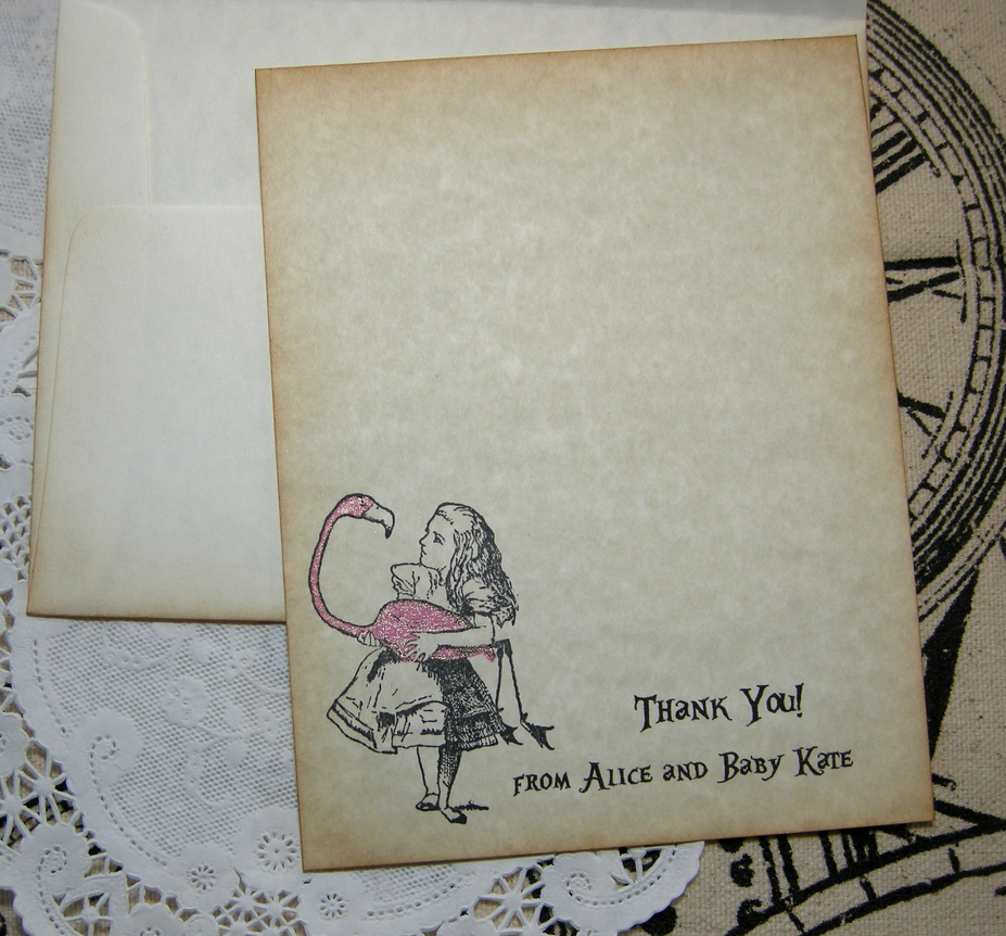 Alice with Flamingo A2 thank you card 2 by FyreflyHollow