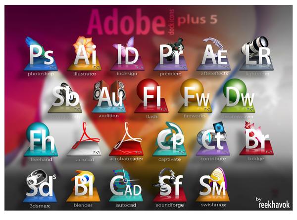 Adobe Dock Icons plus 5 by francismasallo