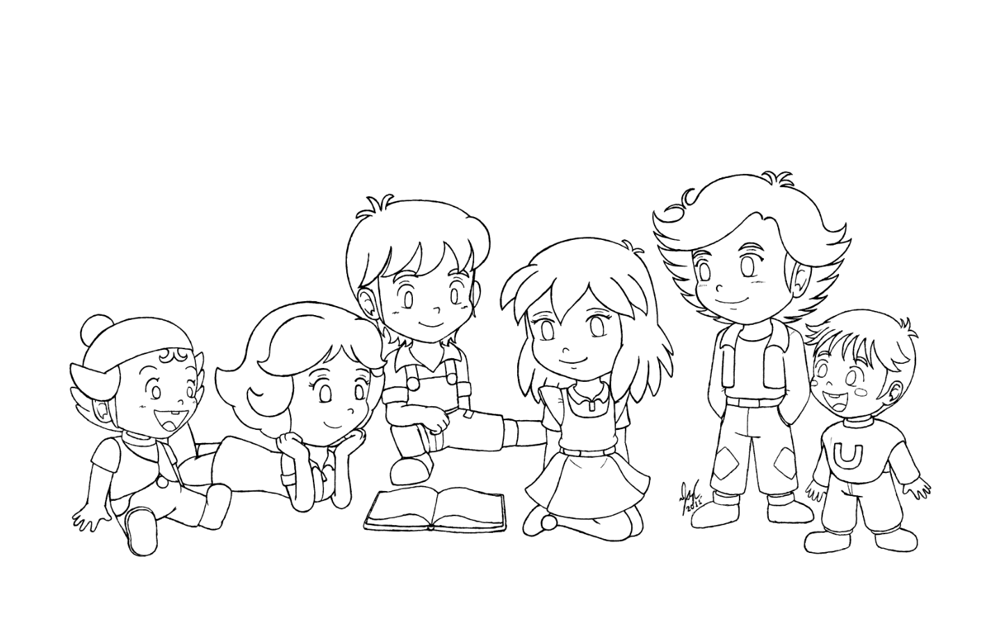 Line Drawing For Kids : Tatsunoko bible kids line art by jazzy c oaks on deviantart