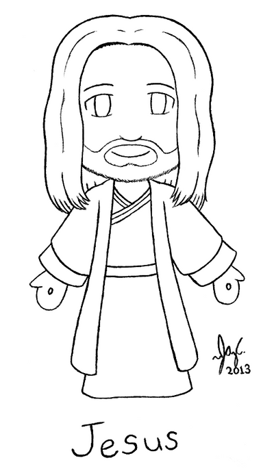 Christ jesus chibi line art by jazzy c oaks