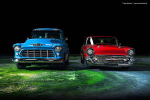 57 Bel Air + 55 Chevy 3100 - Shot 1 by AmericanMuscle