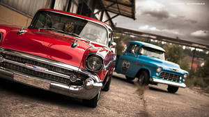 57 Bel Air + 55 Chevy 3100 - Shot 4 by AmericanMuscle