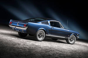 blue 1965 Ford Mustang Fastback