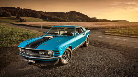 Grabber Blue 1970 Mustang Mach1 - Shot 3 by AmericanMuscle