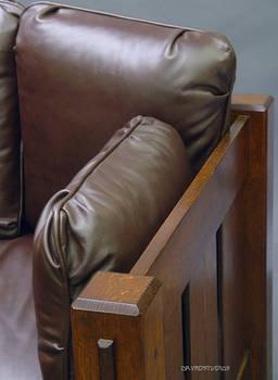 Slat settle oak sofa arm top