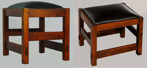 Ottomans with black leather