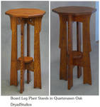 Board Leg Plant stands in Quartersawn Oak by DryadStudios