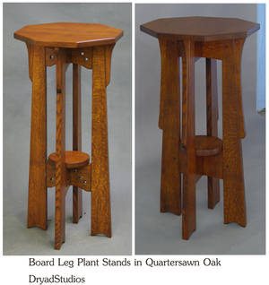 Board Leg Plant stands in Quartersawn Oak