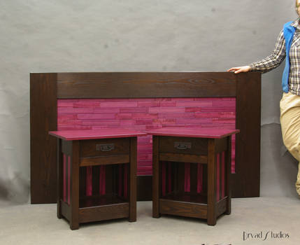 Purple Heartwood Stands and headboard