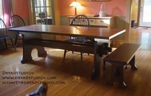 Keyhole Trestle Table with matching bench