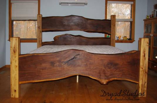 Rustic Walnut slab bed
