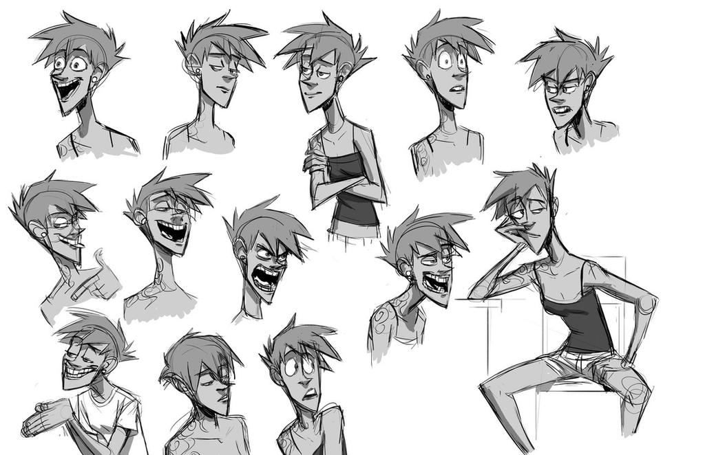 Jade Expression Sheet 347475544 on head concept