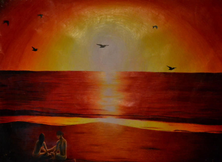 Pencil Crayon Sunset by Link7788 on DeviantArt