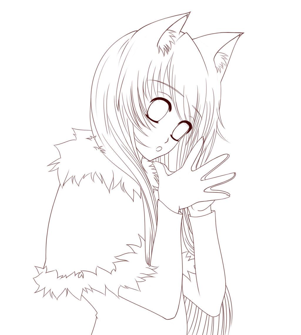 Neko Lineart : Winter coat neko lineart by ayaseshin on deviantart