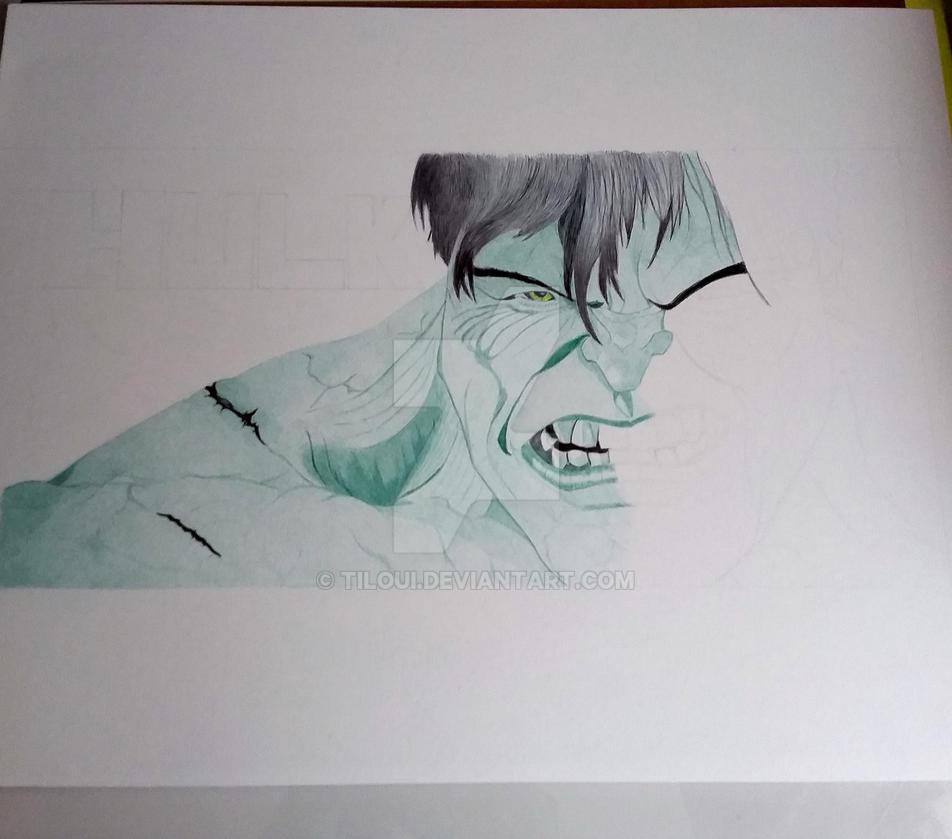 Hulk wip drawing by Tiloui