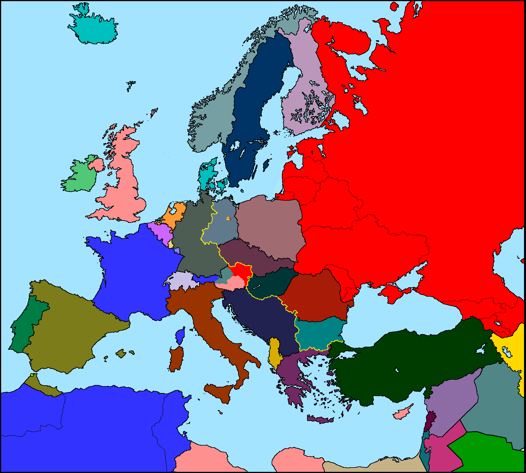 Map Of Europe 1950 Map of Europe 1950 v2 by xGeograd on DeviantArt