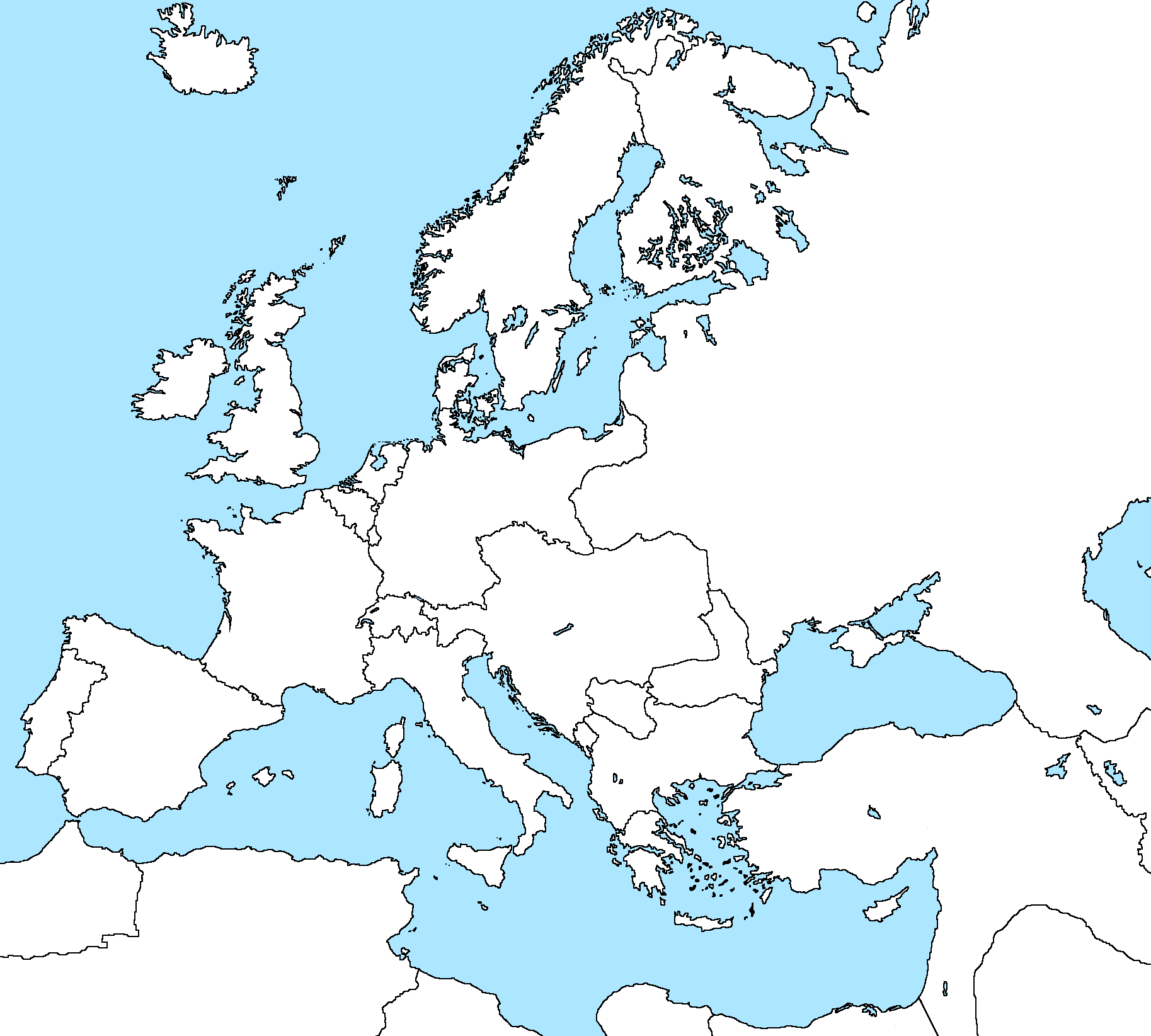 Blank Map of Europe 1900