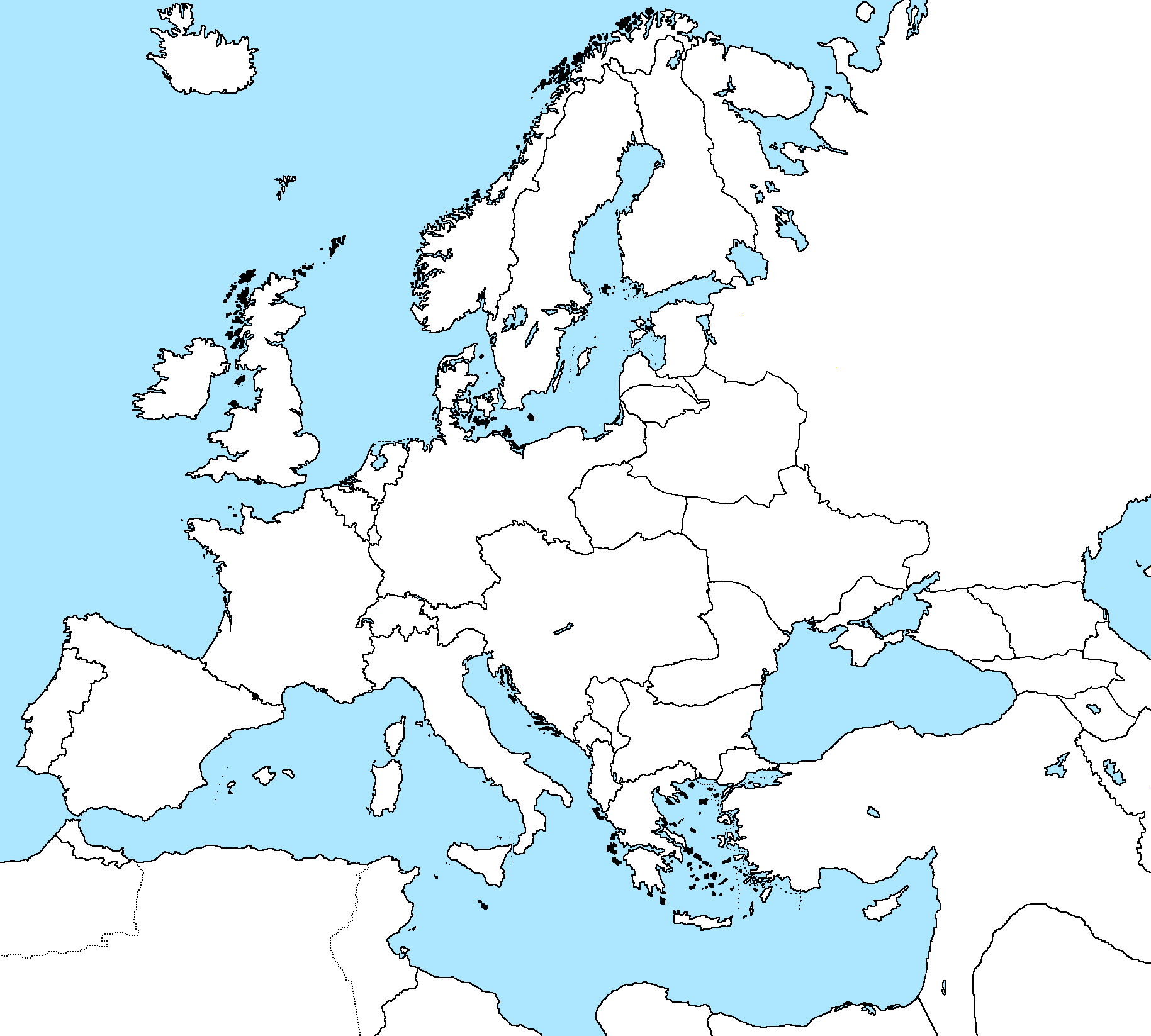 Blank Map of Europe 1918