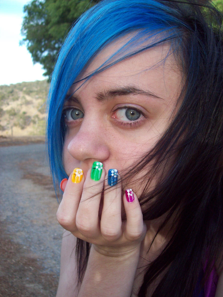 bluewithcolorednails2 by ClefairyKidStock