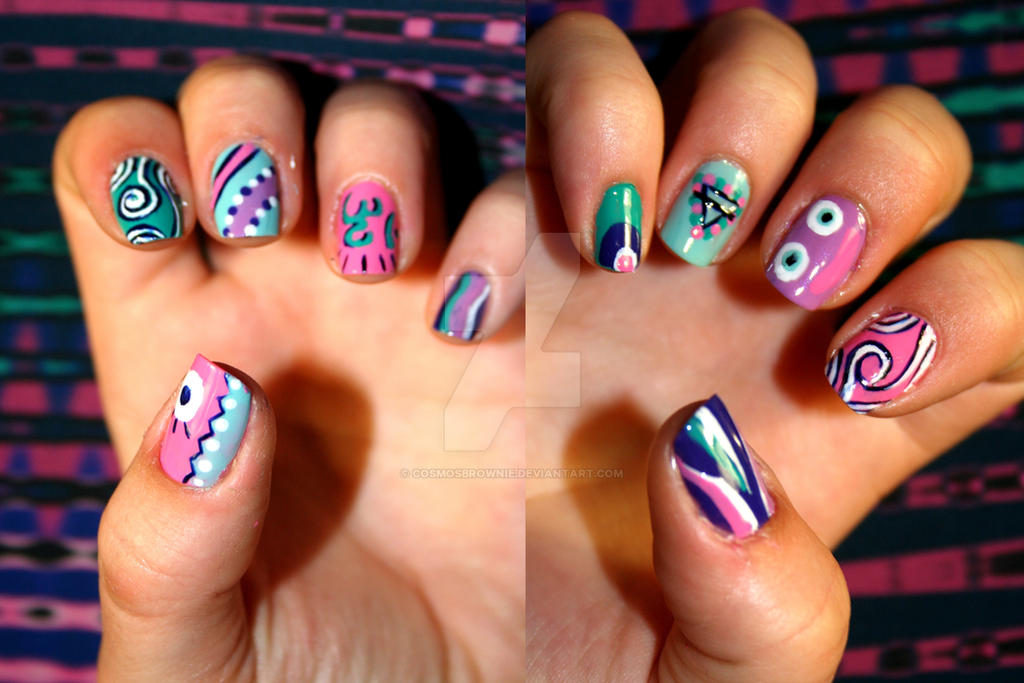 Psychedelic Nails By Cosmosbrownie On Deviantart