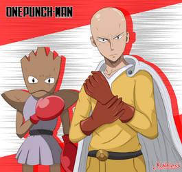One punch man / Pokemon - Saitama and Hitmonchan by Kunaless