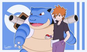 Blue and Blastoise -  Kanto champion