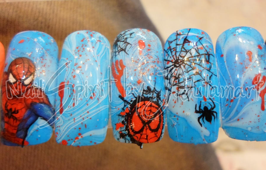 Spiderman nail art by jutamart on deviantart spiderman nail art by jutamart prinsesfo Choice Image