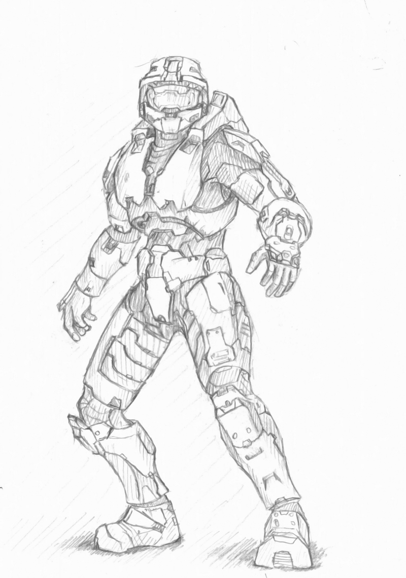 Master chief sketch by imbrokeru on deviantart for Halo master chief coloring pages