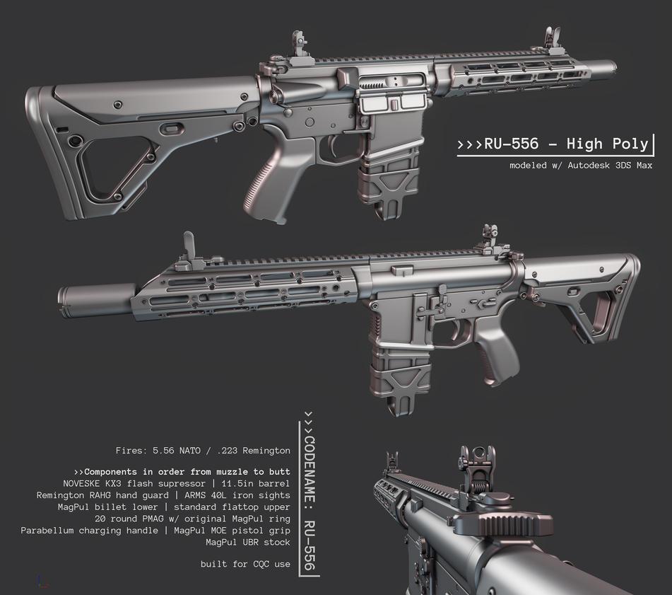 Ar15 Custom Ru 556 High Poly Done By Imbrokeru On Deviantart