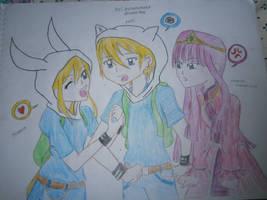 Fionna x Finn x Princess Bubblegum by Ayakashixxx