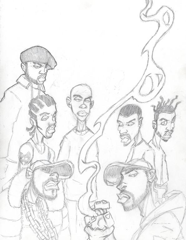 Wu-Tang Clan sketch by Glax101