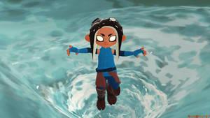 Octoling Korra in the Avatar State