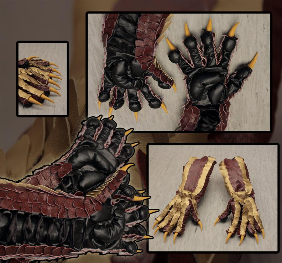 dragon gloves - yellow/red/black by SagandeTeam on DeviantArt