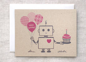 Happy Birthday Robot Card by happydappybits