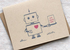Hello Card - Robot by happydappybits