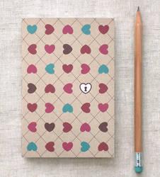Mini Journal - Hearts and Lock