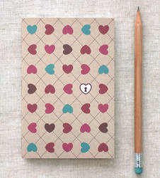 Mini Journal - Hearts and Lock
