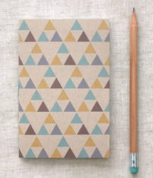 Triangles Mini Journal - Blue Gold Brown