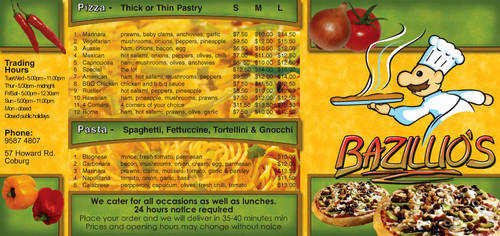 TAFE - Bazillios pizza menu